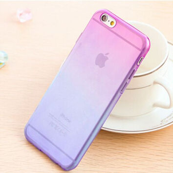 Purple and Blue Candy Color Gradient Soft TPU Clear Transparent Phone Protector Case Cover Shell For iPhone 4 4S 5 5S SE 6 6S 6 Plus 6S Plus