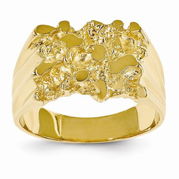 14k Yellow Gold Polished Mens Nugget Ring