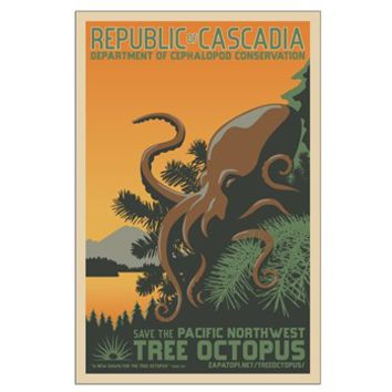 Tree Octopus WPA-Style Large Poster > Save the Pacific Northwest Tree Octopus