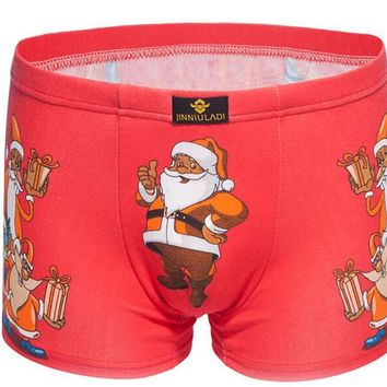 Free Shipping The new hot style Christmas printed character Pure cotton men's underwear Loose pants SIZE L XL XXL XXXL #7113R0