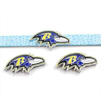 20PCS Sport Football Baltimore Ravens Slide Charm Alloy Charm Fit For 8mm DIY Leather Bracelet Necklace Jewelry
