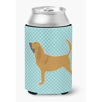 Bloodhound  Checkerboard Blue Can or Bottle Hugger BB3684CC