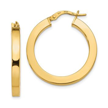 3mm x 26mm (1 Inch) Polished 14k Yellow Gold Square Tube Hoop Earrings
