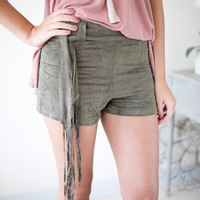 Rhyme & Reason Olive Suede Shorts
