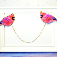 Collar tips , Bird brooch , bird pin , double brooch , cardigan guard , pink bird jewelry , gift for her , bird brooch , bridesmaid jewelry
