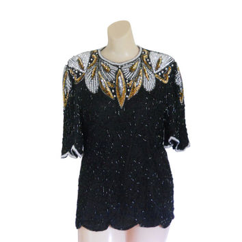 Gold Sequin Shirt Silver Sequin Top Beaded Top Sparkle Shirt Gold Sequin Top New Years Top New Years Eve Holiday Shirt Evening Top Sparkly