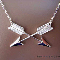 Cross arrows on sterling silver necklace Length by RingRingRing