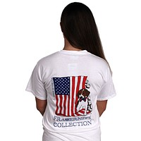 The Patriotic Puppy Short Sleeve Tee Shirt in White by the Fraternity Collection - FINAL SALE
