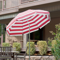 Frankford Umbrellas 7.5 ft. Diameter Steel Commercial Grade Striped Acrylic Patio Umbrella