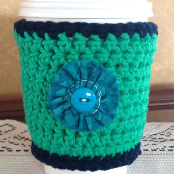 Turquoise Floral Crochet Coffee Cozy, Turquoise Flower, Coffee Cup Sleeve, Coffee Lovers, Button Flower, Coffee Cozy, Crochet Cozy