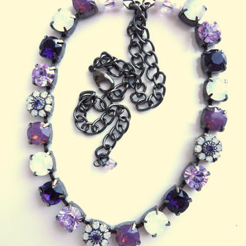 swarovski crystal choker, purple and opals, better than sabika, GREAT PRICE