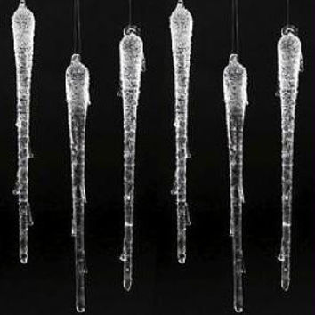 6 Christmas Ornaments - Glass Icicle