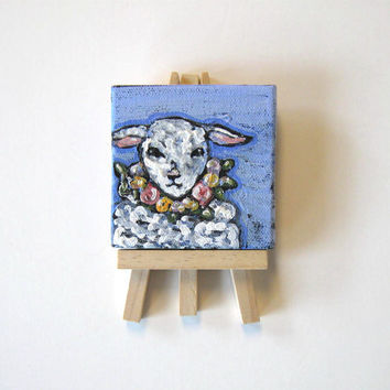Acrylic Animal Painting, miniature lamb, original