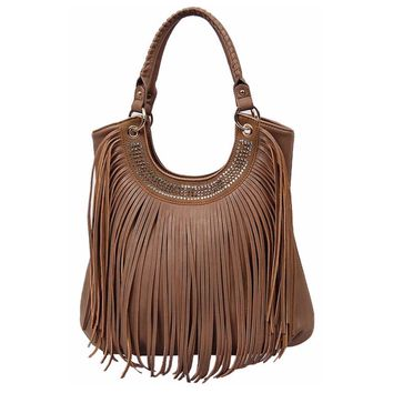Studded and Fringe Detail Brown Leather Purse