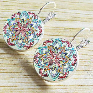 Euro-American Bohemia Henna Retro Glass Gem Stud Hook Earrings Jewelry Gift HU