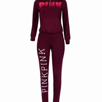 Pink Wine Red Sweatshirt+Pants 2 Piece Set Women Lovely Letter PINK Print Sporting Suit for Lady Leisure Tracksuit