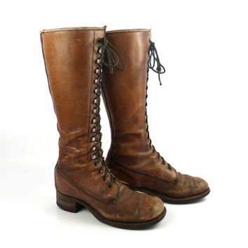 Frye Campus Boots Vintage 1970s Brown Leather Lace Up Hippie Women's size 7 B