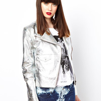 Eleven Paris Holographic Leather Biker Jacket
