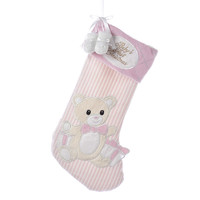 Kurt Adler 20-Inch Fabric Baby's First Christmas Pink Stocking