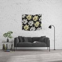 Silver & Gold Leaves On Black Wall Tapestry by inspiredimages