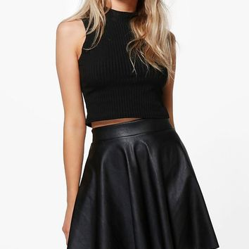 Lua Leather Look Full Skater Skirt | Boohoo
