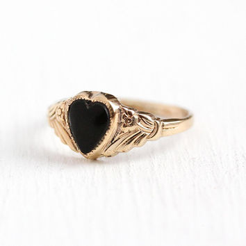 Vintage Heart Ring - 12k Rosy Yellow Gold Filled Jet Black Stone - Retro 1940s Petite Size 4 1/2 Signed Kiddiegem Uncas Children's Jewelry