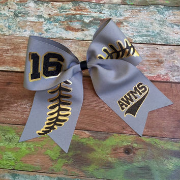 Glitter Softball Cheer bows, Custom Softball Bows, Custom team logo cheer bow, TEAM DISCOUNTS, Made to Order for your team