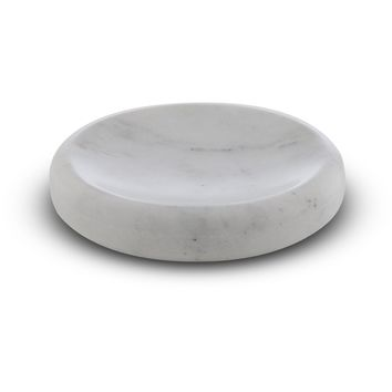 CP Compact Round Soap Dish Holder Tray Soap Holder, White Marble