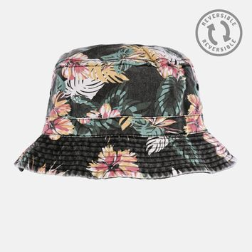 Tropical Black Denim Reversible Bucket Hat