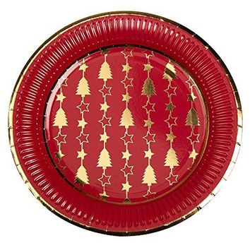 Red and Gold Foil Trees Christmas Paper Dinner Plates