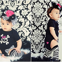baby girl Outfit zebra, Skull with bow