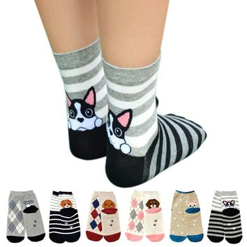 Animals Cartoon Puppy Footprints Socks Funny Crazy Cool Novelty Cute Fun Funky Colorful
