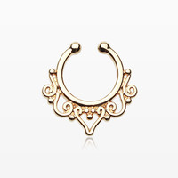 Golden Goddess Filigree Fake Septum Clip-On Ring