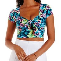 Turquoise Combo Tropical Print Tie-Front Crop Top by Charlotte Russe