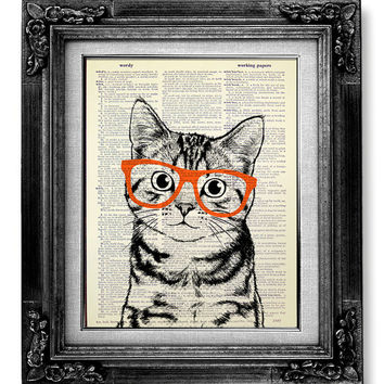 DECORATIVE ART, Cat Art Wall Hanging, CAT Print, Cat Poster Art Print, Book Page Art, Nerdy Poster, Cool Cat Artwork, Tabby Cat Nerd Glasses
