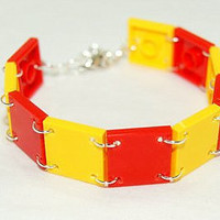 Red and Yellow Lego Cuff Bracelet