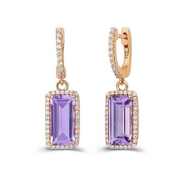 Lafonn Aria Sterling Silver Rose Gold Plated Amethyst Earrings
