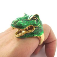 3D Green Dinosaur T-Rex Shaped Enamel Animal Ring in US Size 6 to 8 | Limited Edition