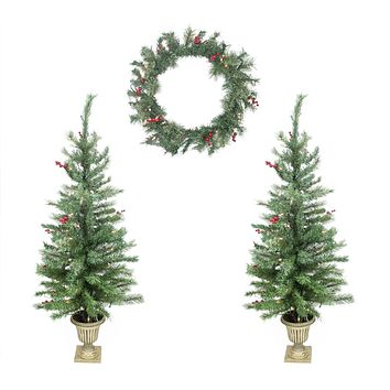 4-Piece Set of Red Berry Pine Artificial Christmas Trees and Wreath - Clear Lights