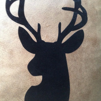 ChristmasinJulySALE Black flocking wildlife Deer Head silhouette bonded to faux distressed leather pillow slip cover