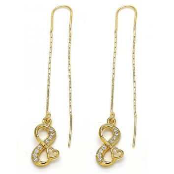 Gold Layered 02.266.0008 Threader Earring, Infinite and Heart Design, with White Cubic Zirconia, Polished Finish, Golden Tone