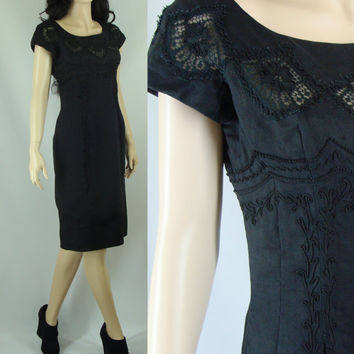 Sixties Black Linen Sheath Dress with Lace Cut Outs, Small/Medium