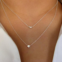 I give You the Moon and the Stars ... Dainty Sterling Silver Layering Necklace - strand necklace - minimalist both necklace