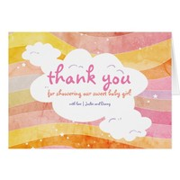 Modern Watercolor Stripes Baby Shower Thank You Card