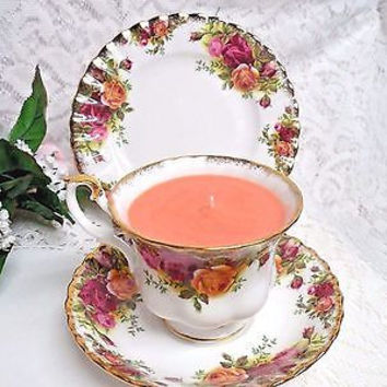 Royal Albert Old Country rose, Vintage rose Scent candle cup and saucer & plate
