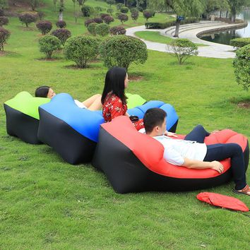 Fast Inflatable Lazy bag Air Sleeping Bag Camping Portable Air Sofa Beach Bed Air Hammock Nylon Banana Sofa Lounger