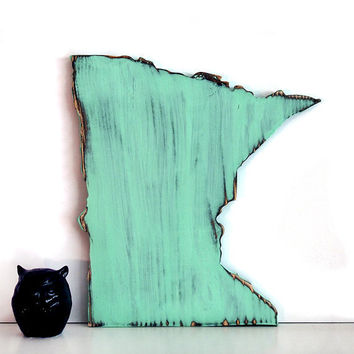 Minnesota State (Pictured in Mint) Pine Wood Sign Wall Decor Rustic Americana French Country Chic