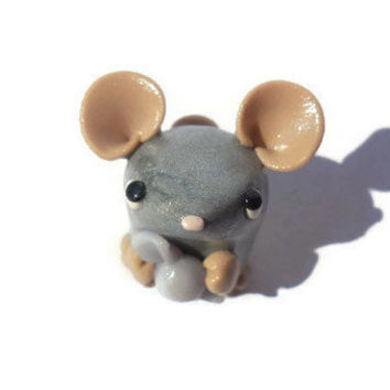 Polymer clay candy mouse sculpture, miniature silver mouse figurine, kawaii gray mouse figure, polymer clay animal sculpture.