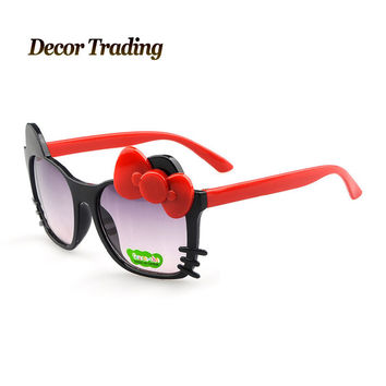 Free Shipping Cat Frame Kids Bow Sunglasses Boys Girls Children Glasses 100%UV400 Sun Shades 2015 New Arrival Promotion 1306