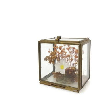 Tiny Vintage Glass & Brass Box with Flower Arrangement Inside